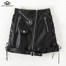 Luck A 2020 Autumn Winter high waist Skirt PU faux leather women skirt