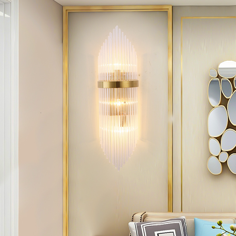 American European post modern golden metal crystal glass tube wall light lamp LED for villa hotel foyer living room wall sconce LED Indoor Wall Lamps     - title=