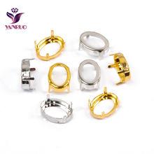 Yanruo oval garra definir cobre costurar em strass base prata ouro costura vestuário diy