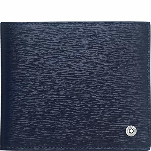 Portafogli Montblanc 4810 Westside Pelle Color Blu 4 Scomparti Ref. 118657