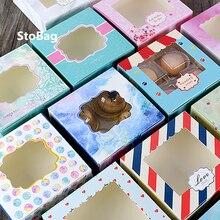 StoBag 5 шт., упаковка для печенья, пончики, шоколадная Подарочная коробка с окном, праздничные и Рождественские сувениры на день рождения