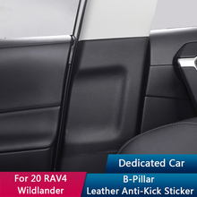 QHCP Car B Pillar Sticker Inner Door Column Protection Seat Belt Buckle Anti scratch Leather Fit For Toyota RAV4 Wildlander 2020