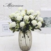 Гортензия Шелковый цветочный шар белый Одуванчик Искусственные цветы букет День рождения Домашний Свадебный декор аксессуары искусственный цветок 7 вилка