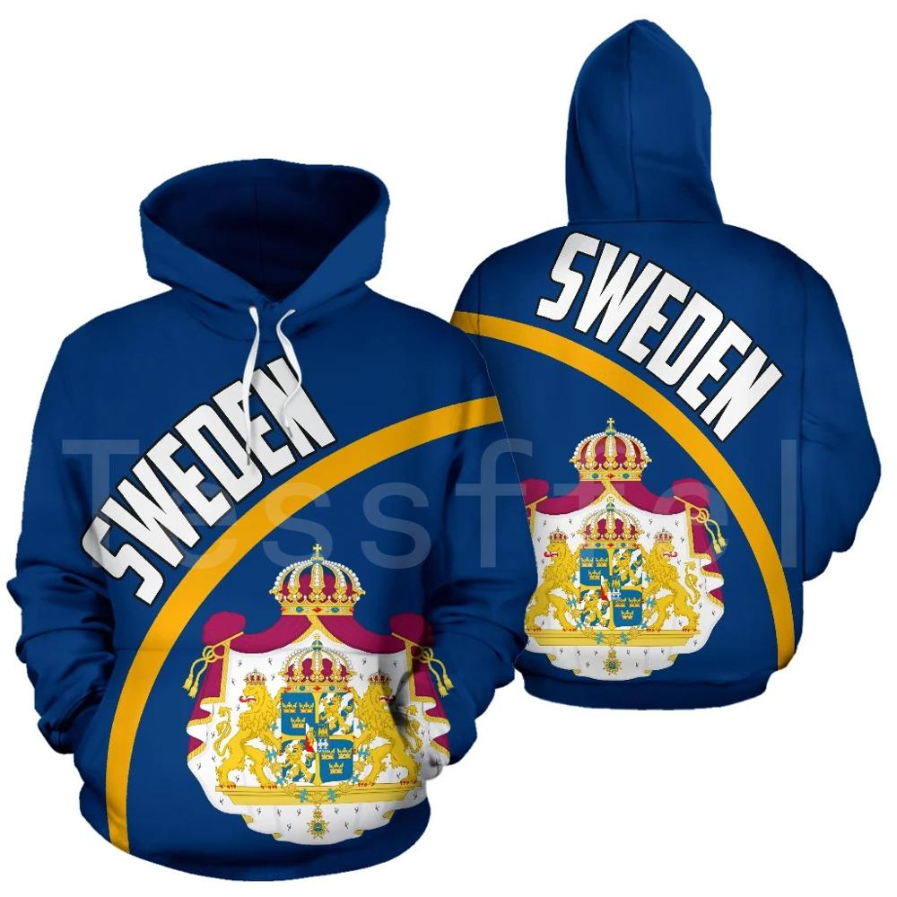Tessffel Newest Country Flag NewFashion SWEDEN Pullover Long sleeve Funny Tracksuit Unisex 3DPrint Zipper/Hoodies/Jacket S-13