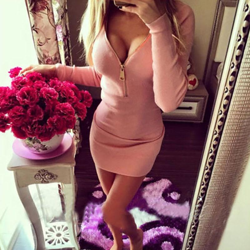 Woman Winter Mini Dress with Long Sleeve