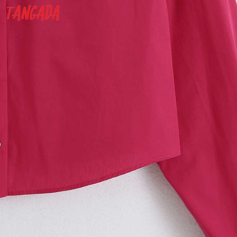 Tangada Vrouwen Hotpink Crop Shirts Knoppen Lange Mouwen Solid 2020 Herfst Vrouwelijke High Street Tops Blouses 6Z68