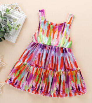 Girls Sleeveless Sling Dress Tie Dye Fashion Casual Comfortable Holiday Dress Birthday Prom Dress Hot Sale image