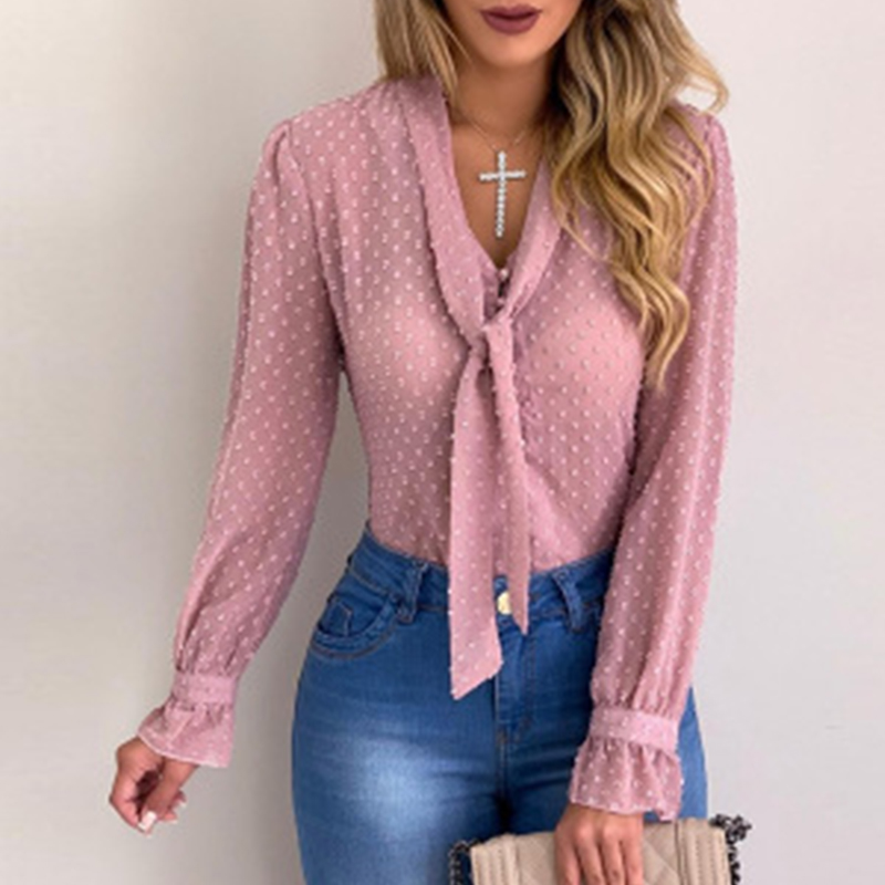 Fashion Women Long Sleeve   Shirt   Slightly Transparent   Shirts   Autumn V-neck Tops   Blouses   Plus Size