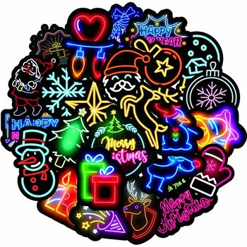 50PCS Neon Light Sticker Gifts Toys for Children Merry Christmas Cute Decals Stickers to Laptop Phone Suitcase Guitar Fridge Car image