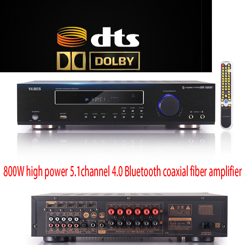 KYYSLB 800W 220V 5.1 Bluetooth Amplifier AV-638 DTS Dolby HD Decoding Amplifier Home High-power Professional Digital Amplifier