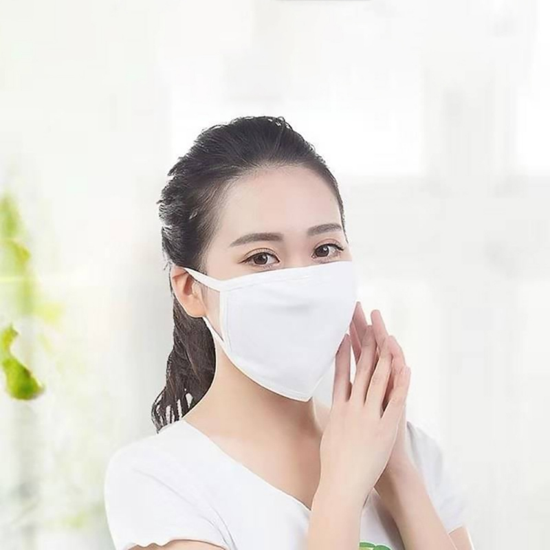Unisex Cotton Face Masks White Two-layer Breathable Cotton Face Mask Anti Dust Fog And Haze 2