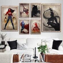 D. C. Superhéroes Marvel colección cómics Superman Batman Iron Man salpicaduras arte pintura Vintage lienzo cartel pared decoración para el hogar