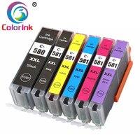 ColorInk 6PK PGI580XXL CLI581XXL 580 581 ink cartridge for Canon Pixma TS8150 TS8151 TS8152 TS9150 TS9155 Printer 580XXL 581XXL