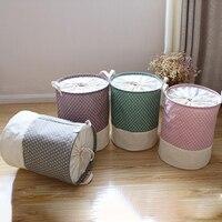 Patchwork Cotton Linen Laundry Basket Dirty Clothes Folding Storage Basket Toy Organizer Sundries Storage Bucket Home Storage|Storage Baskets| |  -