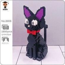 Babu 8806 karikatür JiJi siyah kedi hayvan Pet 3D modeli 1850 adet DIY Mini elmas blokları tuğla yapı oyuncak çocuk hiçbir kutu