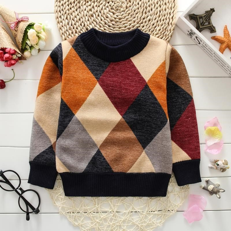 Boys Sweaters Baby Stripe Plaid Pullover Knit Kids
