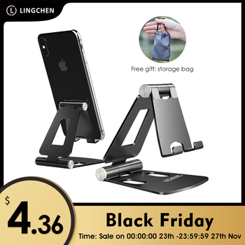 LINGCHEN Phone Holder Stand for iPhone 11 Xiaomi mi 9 Metal Phone Holder Foldable Mobile Phone Stand Desk For iPhone 7 8 X XS