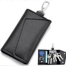 Genuine Leather Keychain Men Women Key Holder Organizer Pouch Cow Split Car Key Wallet Housekeeper Key Case Mini Card Bag