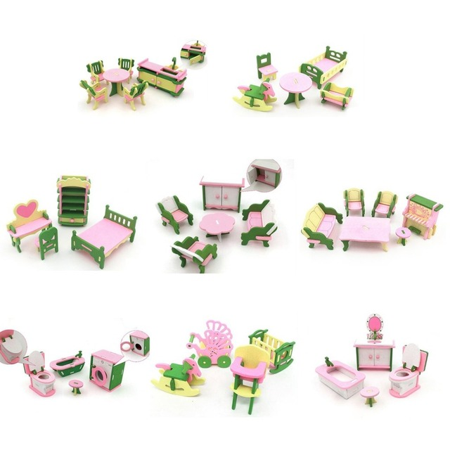 Kids Pretend Role Play House Wood Toy Set Kitchen Babies Room Living Room Mini Ornaments Toys Kit Birthday Gift 3
