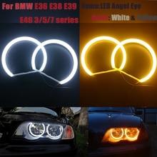 цена на Cotton Halo Ring Light SMD LED Angel Eyes For BMW E46 E39 E38 E36 Projector Headlight White Yellow E39 Angel Eye 4*131mm CCFL