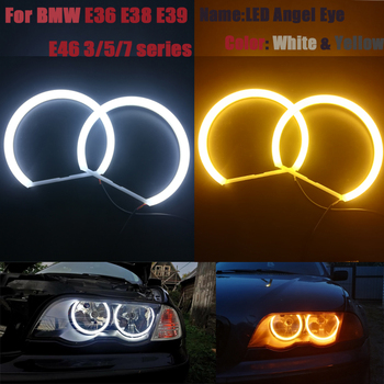 цена на Cotton Halo Ring Light SMD LED Angel Eyes For BMW E46 E39 E38 E36 Projector Headlight White Yellow E39 Angel Eye 4*131mm CCFL