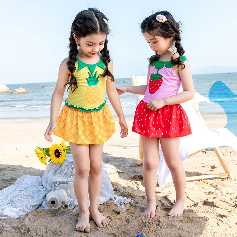 2020 New Style Children Swimsuit Skirt-One-piece Cute Cartoon Pineapple Strawberry Printed Children Swimsuit GIRL'S