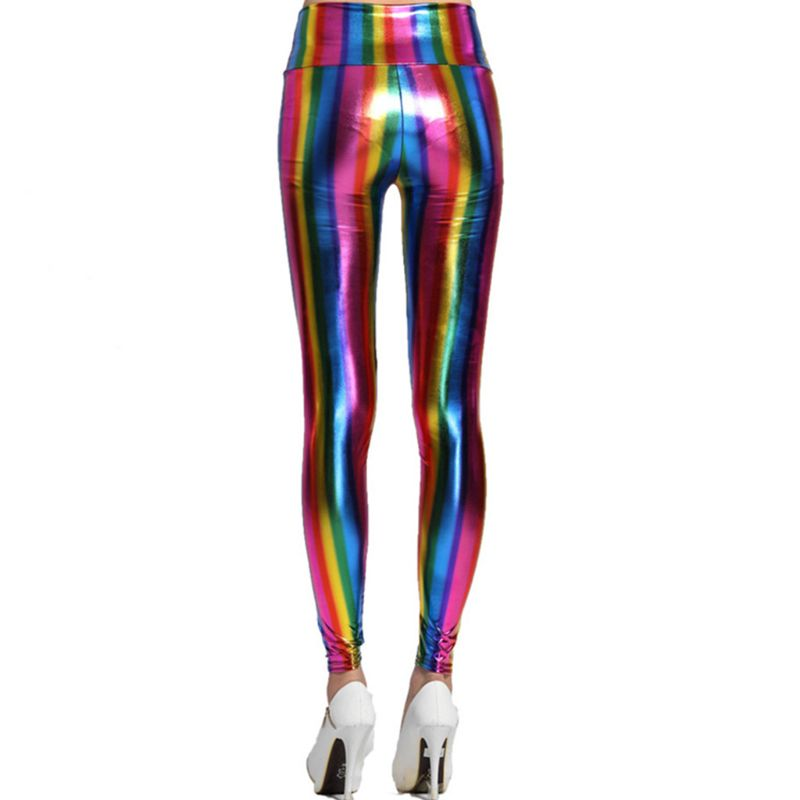 Womens Hologram Metallic Rainbow Glitter Neon Tights Stripes Printed High Waist Pants Faux Leather Party Clubwear
