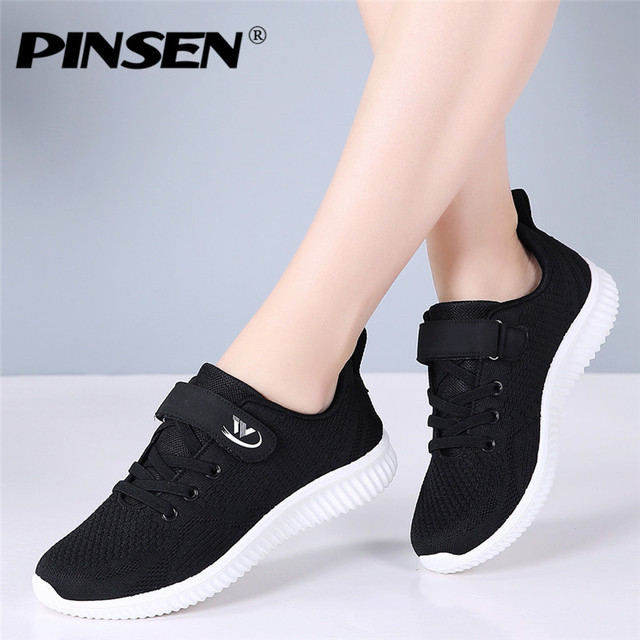 PINSEN Autumn Fashion Women Sneakers Flats Shoes Female Casual Lace up Breathable Mesh Sneakers Basket Femme Ladies Shoes