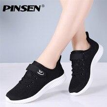 PINSEN 가을 패션 여성 운동화 플랫 신발 여성 캐주얼 레이스 업 통기성 메쉬 스니커즈 바구니 Femme Ladies Shoes