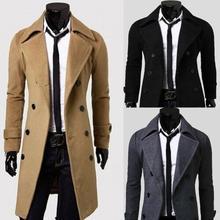 Men Winter Warm Trench Coat Double Breasted Long Jacket Top Dress Shirt Overcoat