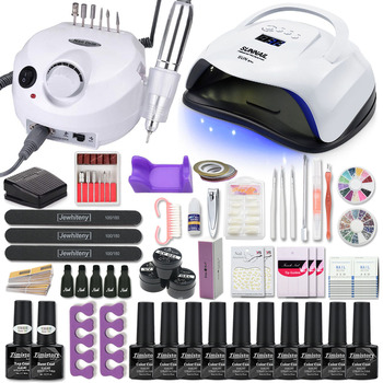 Manicure Set Acrylic Nail Kit With 120/80/54W Lamp 35000RPM drill Machine Choose Gel Polish All For - discount item  30% OFF Nail Art & Tools