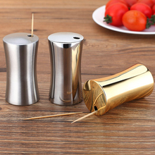 New Hot Selling Reusable House for Toothpicks Polished Stainless Steel Tooth Pick Holder Organizer Jar Golden