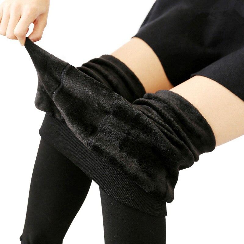 NORMOV Women Winter Slim Warm Leggins Knitter Thick Elastic Velvet Trouser High Waist Leggings Fitness Workout Pants Female