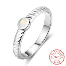 Women 925 Sterling Silver Opal Rings Simple Small White Stone Female Finger Wedding Party Gift Fine Jewelry