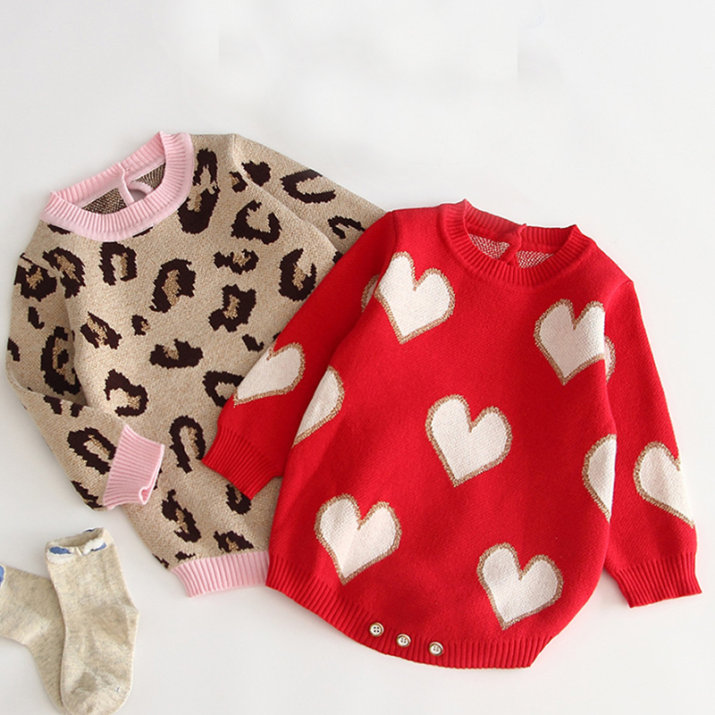 Baby Girl Romper 100% Cotton Leopard-print Autumn Newborn Romper Girl Jumpsuit Knitted Infant Knitted Clothes Baby Girl Sweater