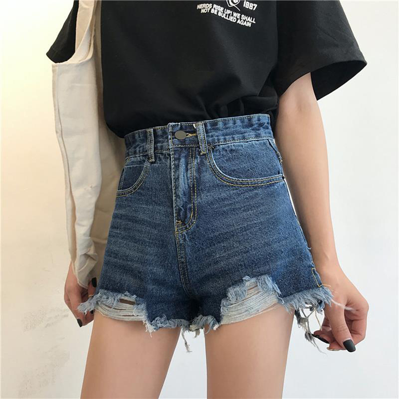 Women's Jeans Shorts Korean Version  New Street Wear Fashion Summer Zipper Polyester Pockets High Sexy Women's High Waist Shorts