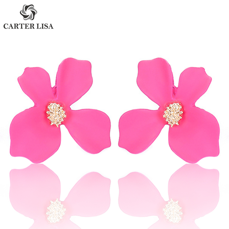 CARTER LISA Cute Pink Flower Pastel Floral Statement Stud Earings For Women Girl Ethnic Bohemian Jewelry Party Personality Gifts