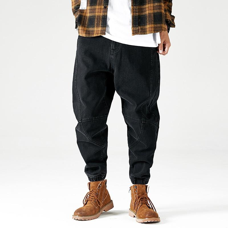 Fashion Streetwear Men Jeans Loose Fit Spliced Designer Denim Cargo Pants Homme Black Blue Harem Pants Hip Hop Jeans Men Joggers