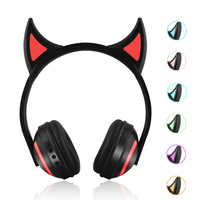 Foldable Flashing Glowing Kids Bluetooth Headphone Gaming Headset Devil Earphone With Led Light For Laptop Computer Mobile Phone