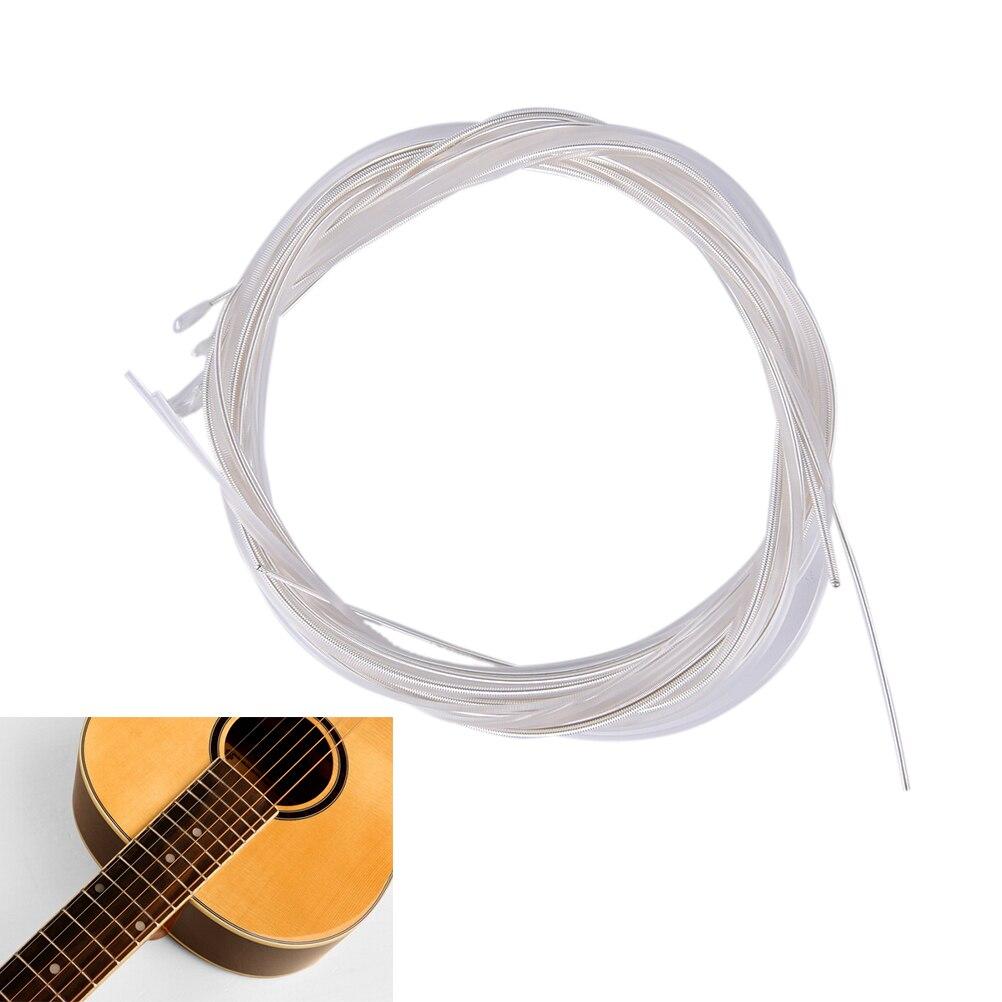 6pcs/Set Guitar Strings Nylon Silver Plating Set Super Light For Acoustic Guitar Music Instruments Parts Accessories