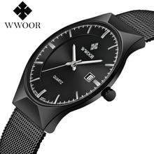 цены WWOOR Brand Men Watch Top Brand Luxury Waterproof Ultra Thin Date Male Sports Wristwatch Man Steel Strap Casual Quartz Man Watch