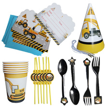 Party-Tableware Birthday-Decoration Car-Party-Balloons Construction-Theme Disposable
