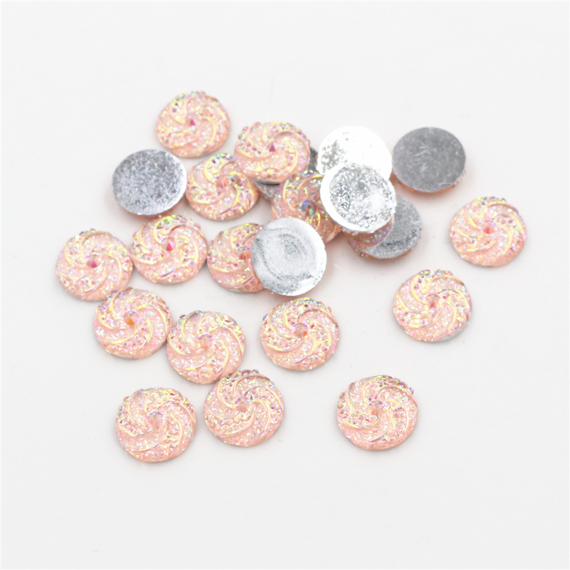 New Fashion 40pcs 12mm Pink AB Colors Windmill Style Flat Back Resin Cabochon For Bracelet Earrings Accessories-G1-09