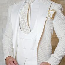 Men Suits Satin Pants Vest Jacket Tuxedos Groom Lapel Wedding Royal-Blue Black Best-Man