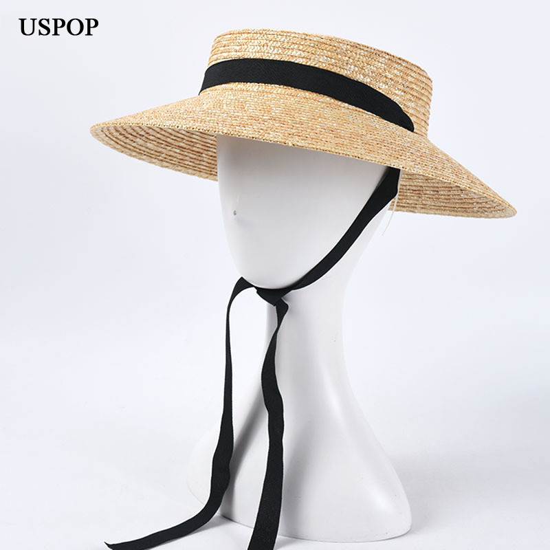USPOP 2020 New French Style Vintage Shallow Crown Straw Hats Women Straw Sun Hats Long Ribbon Natural Wheat Straw Beach Hat