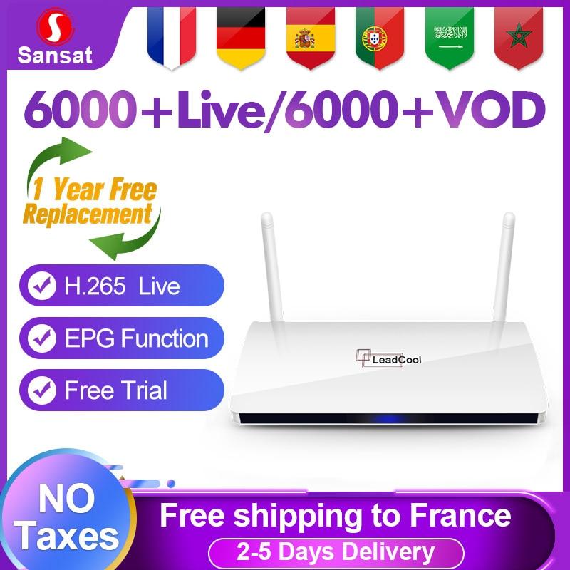 Leadcool IPTV France Subscription Android 8.1 RK3229 Sansat IPTV French Arabic Portugal IP TV Spain Germany Belgium France