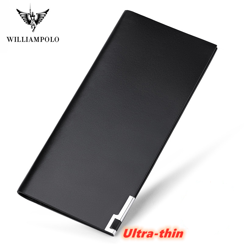 WilliamPolo  Long Men's Wallet Full Grain Leather Ultra-thin Multi-Card Holder Simple Large-Capacity Card Holder