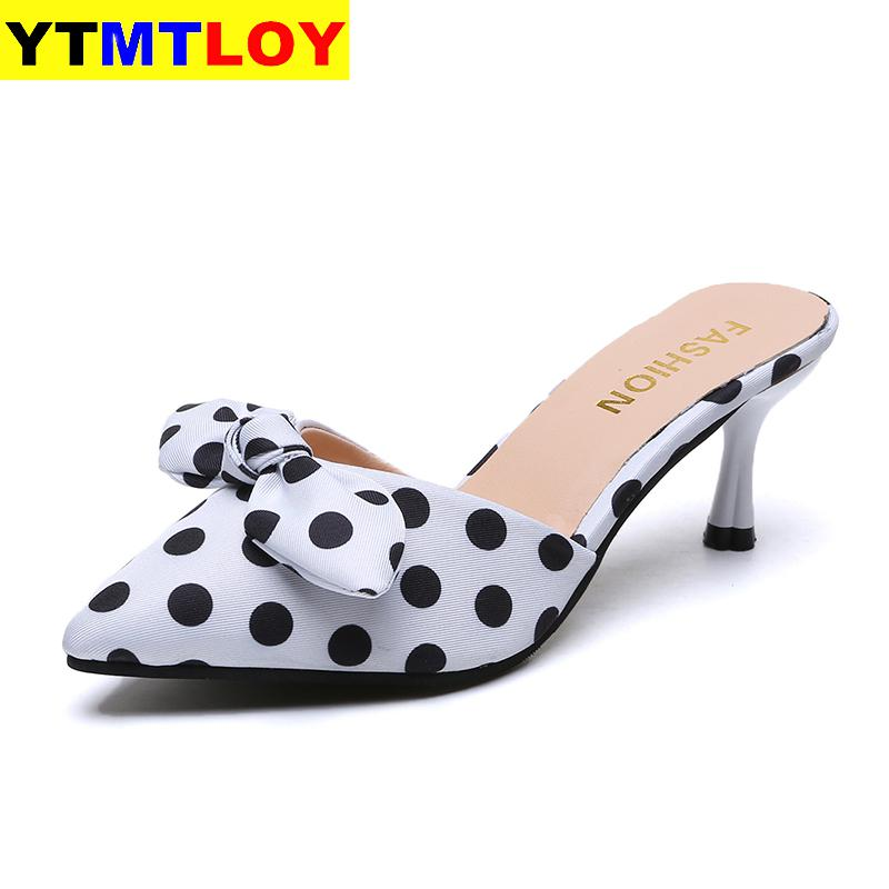 New Summer Women Sandals Wedding Shoes Bridal Pointed Toe Woman Slippers Low Heels Dress Shoe Sandalias Mujer Polka Dot Rome