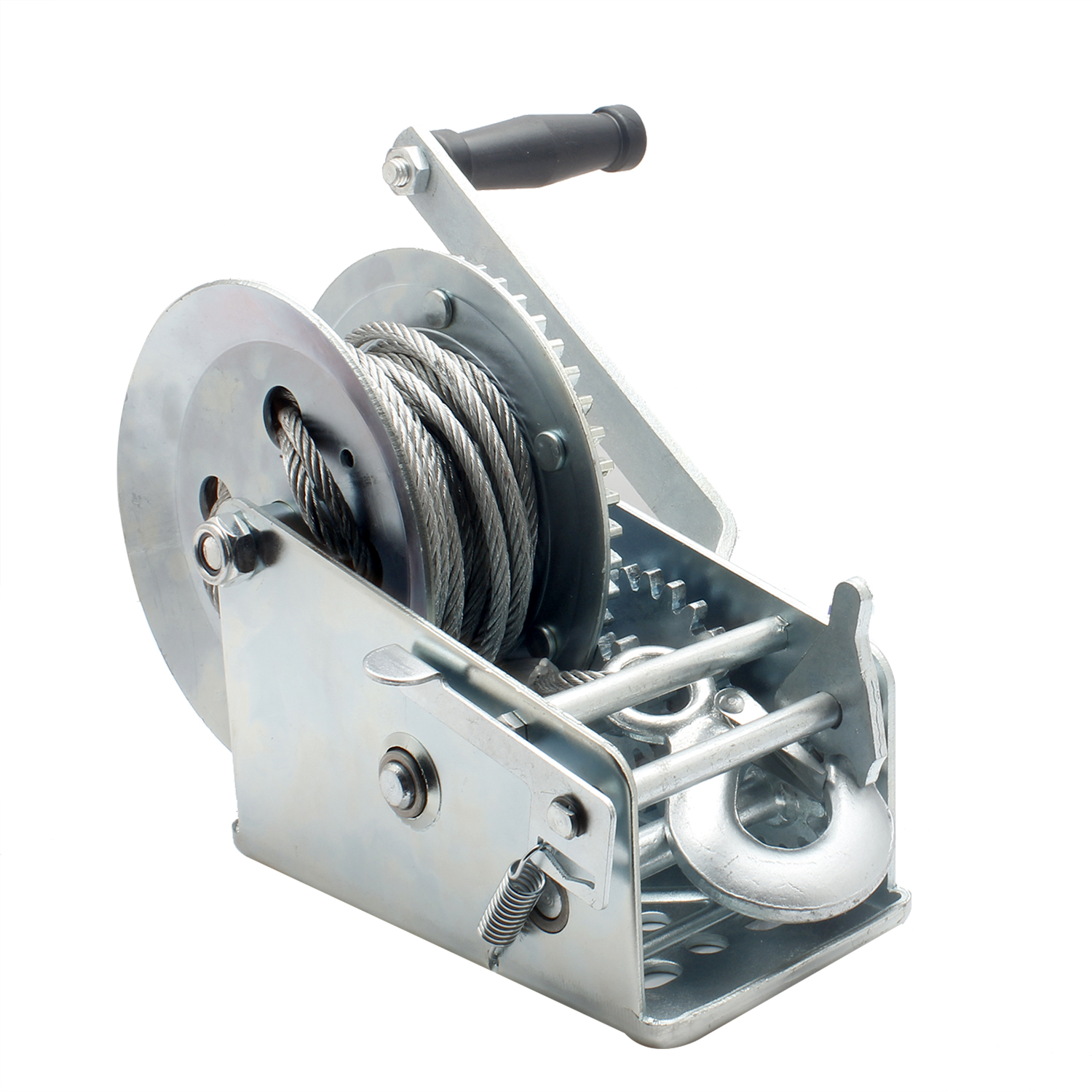 3500lbs Dual Gear Hand Winch Hand Crank Manual Boat ATV RV Trailer 33ft Cable Alloy Steel Hand Winch