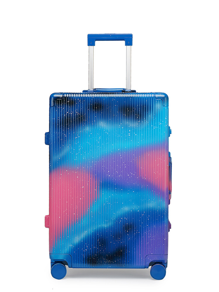 Origiinal Graffiti Blue Suitcase Luggages Custom TSA Lock Spinner Wheel Lightweight Carry Luggage Case Outdoor Travel 20 24 28